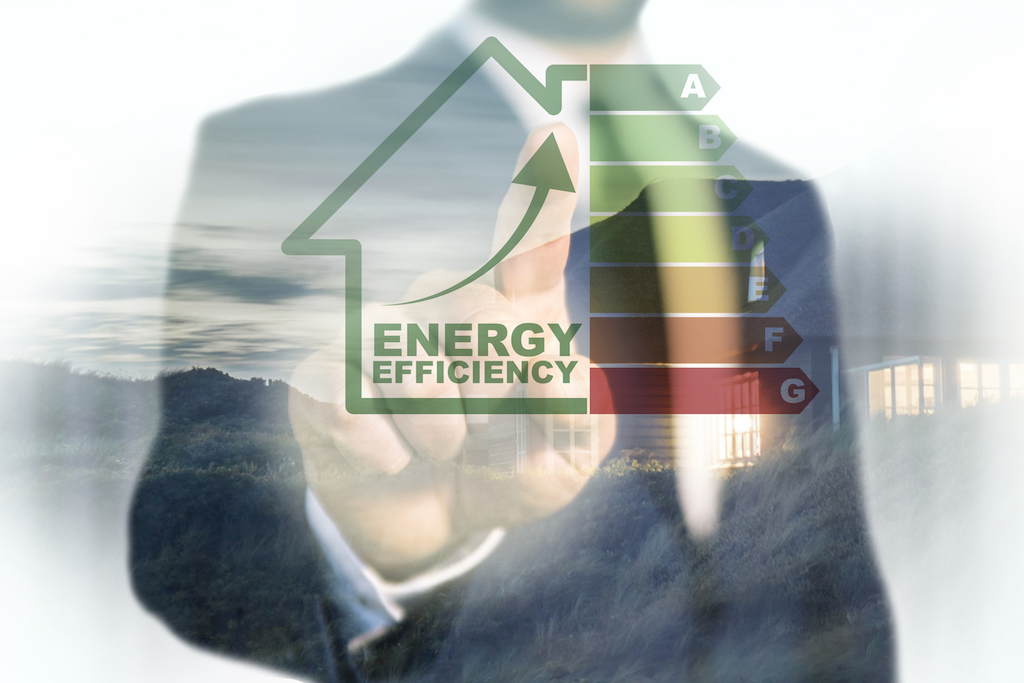 man touches energy efficiency chart with green house outline