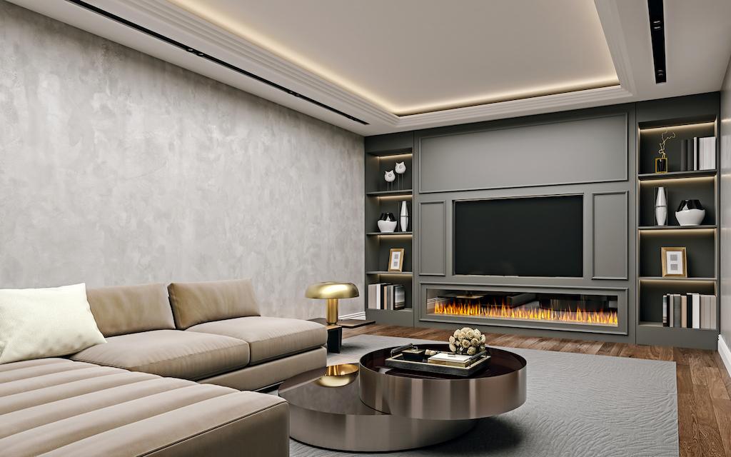 refinished basement ultra modern den