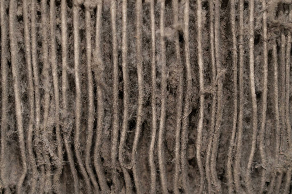 close up of a very dirty air filter