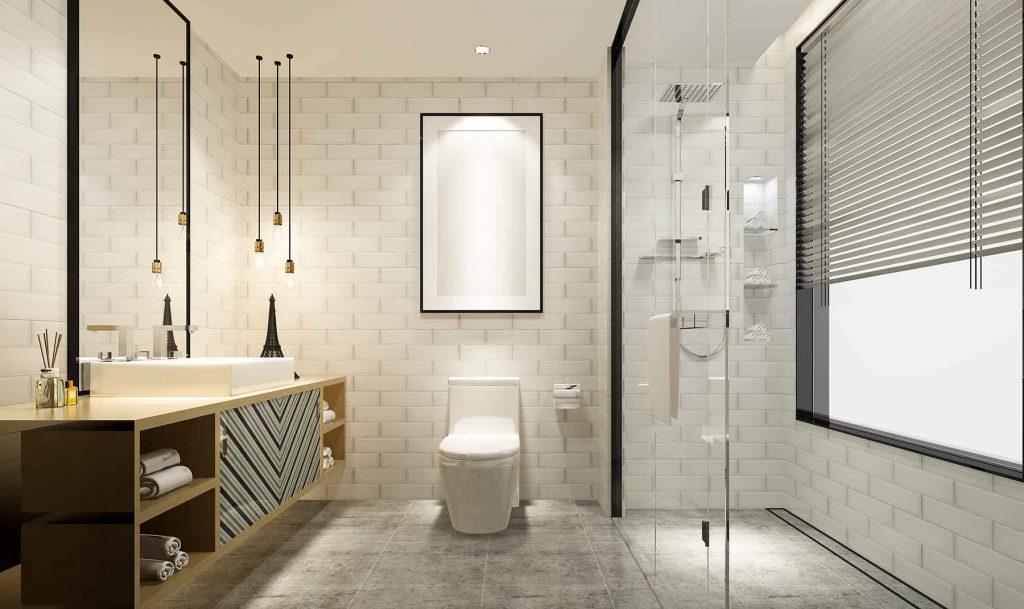 Bathroom with open shower